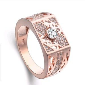 Jewelry - GORGEOUS ROSE GOLD CRYSTAL WEDDING RING NEW